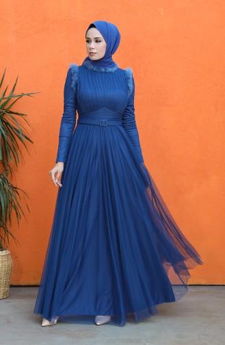 Belted Tulle Evening Dress 4812-03 Indigo 4812-03