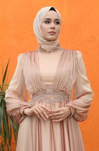 Maroon İslamitische Avondjurk 0057-01