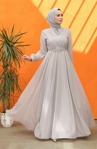 Gray İslamitische Avondjurk 5067-01