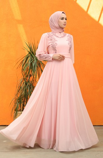 Pleated Silvery Evening Dress 5073-01 Powder Pink 5073-01
