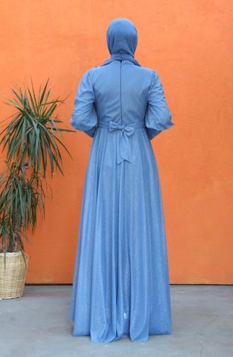 Indigo Hijab-Abendkleider 5073-03