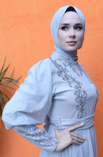 فساتين سهرة بتصميم اسلامي رمادي 5073-04