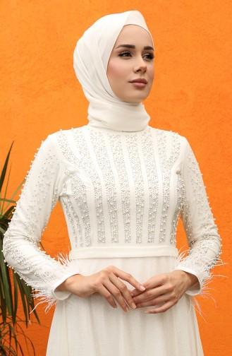 فساتين سهرة بتصميم اسلامي بيج فاتح 5074-04