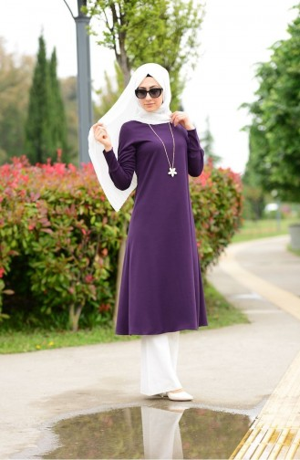 Long Tunic with Necklace 3047-05 Purple 3047-05