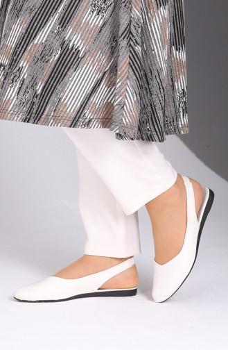 Ballerine Pour Femme Blanc 0172-03