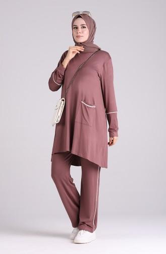 Cepli Tunik Pantolon İkili Takım 1007-03 Gül Kurusu