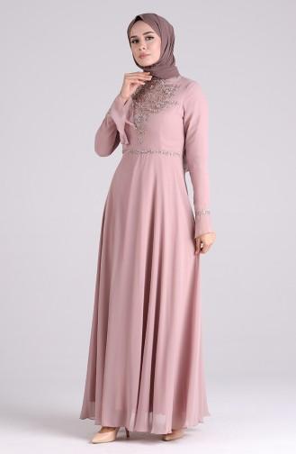 Dusty Rose Islamic Clothing Evening Dress 6179-03