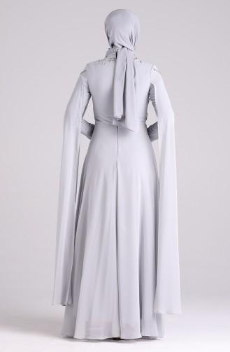 فساتين سهرة بتصميم اسلامي رمادي 4714-06