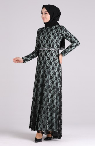 فساتين سهرة بتصميم اسلامي أخضر 4718A-02
