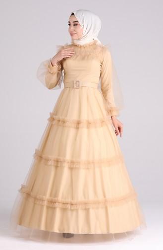 Gold Hijab-Abendkleider 4818-01