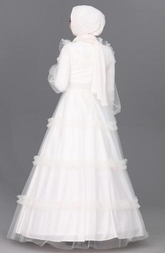 Kemerli Tül Abiye Elbise 4818-05 Beyaz