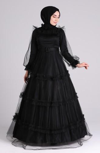 Belted Tulle Evening Dress 4818-07 Black 4818-07