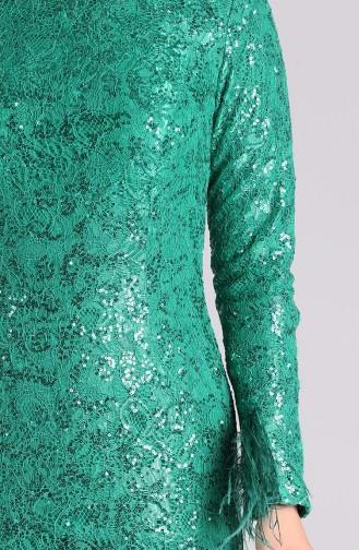 Sequined Evening Dress 4590-04 Emerald Green 4590-04