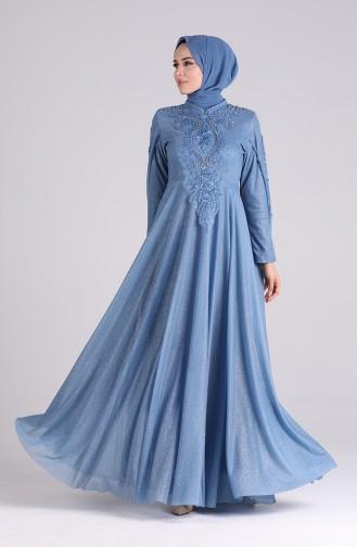 Indigo Hijab-Abendkleider 5070-01