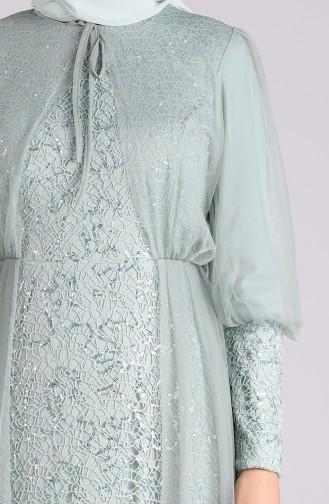 Unreife Mandelgrün Hijab-Abendkleider 5346-09
