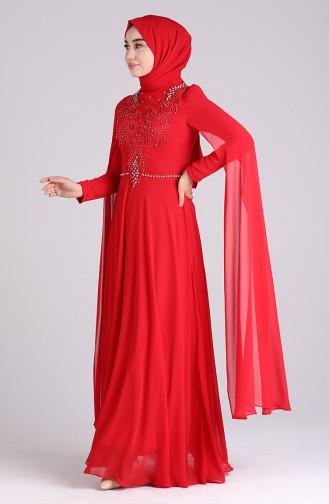 Red İslamitische Avondjurk 4715-03