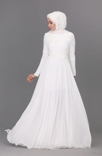 Appliqued Evening Dress 0083-04 Ecru 0083-04