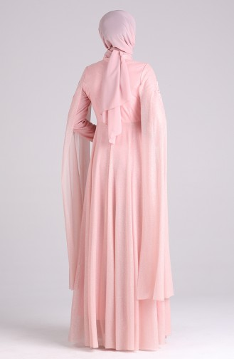 فساتين سهرة بتصميم اسلامي وردي باودر 5070-03