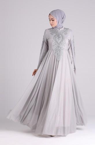 Grau Hijab-Abendkleider 5070-04
