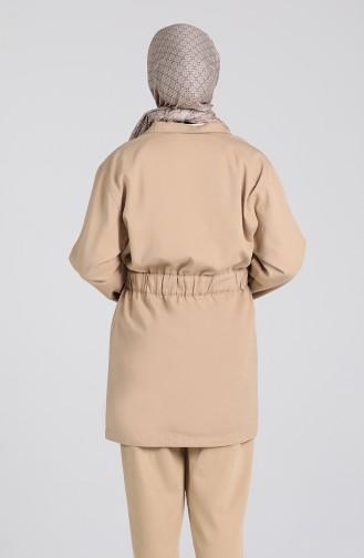 Kuşaklı Ceket 6482-01 Bej