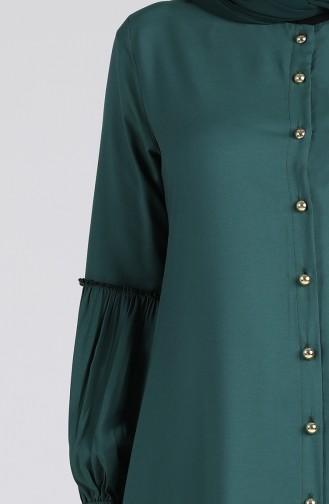 Düğmeli Uzun Tunik 11004-09 Zümrüt Yeşili
