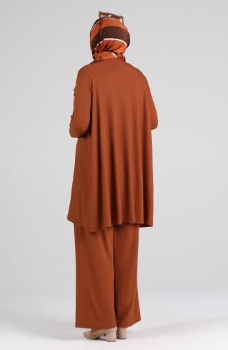 Asimetrik Tunik Pantolon İkili Takım 4618-01 Taba