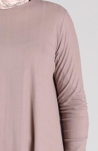 Asimetrik Tunik Pantolon İkili Takım 4618-02 Vizon