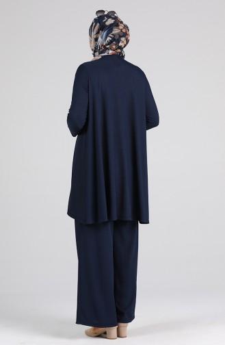 Asimetrik Tunik Pantolon İkili Takım 4618-03 Lacivert