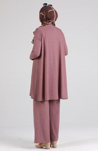 Asimetrik Tunik Pantolon İkili Takım 4618-05 Gül Kurusu