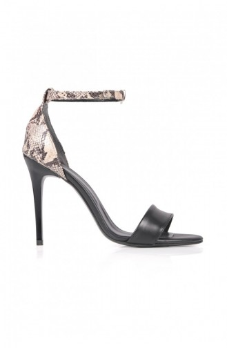 Single Tape Siyah Tek Bant Kadın Topuklıu Ayakkabı 102009006135