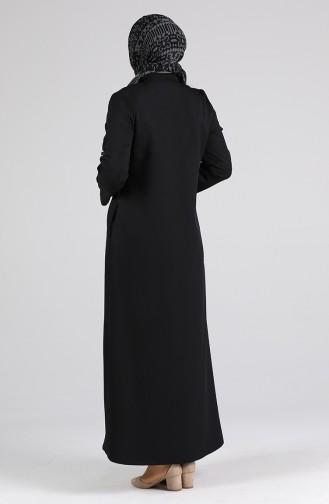 Büyük Beden Fermuarlı Ferace 2124-01 Siyah