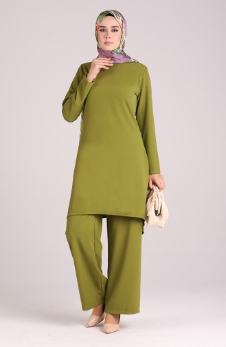 Asymmetric Tunic Trousers Double Suit 1001-03 Pistachio Green 1001-03