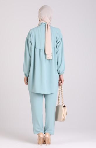 Düğmeli Tunik Pantolon İkili Takım 1114-04 Mint Mavi