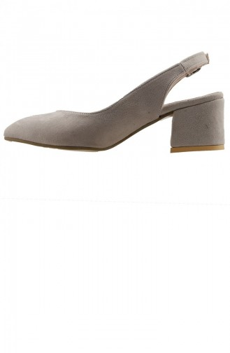Ayakland 97544307 Süet 5 Cm Topuk Bayan Sandalet Ayakkabı Ten