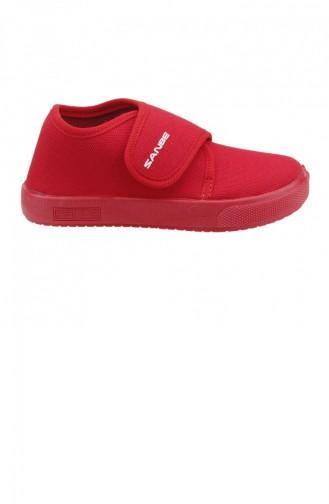 Sanbe 106P102 Okul Kreş Kızerkek Çocuk Keten Panduf Ayakkabı Kırmızı 19KAYSAN0000005_KR
