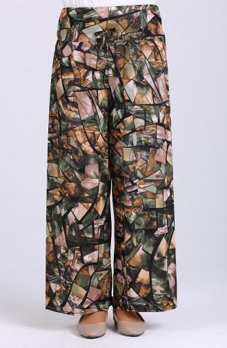 Desenli Bol Paça Pantolon 3000-01 Haki