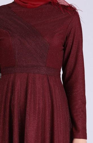 فساتين سهرة بتصميم اسلامي أحمر كلاريت 4221-02