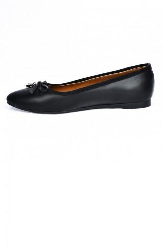 Ayakland 19202036 Çizgili Cilt Anatomik Bayan Babet Ayakkabı Siyah