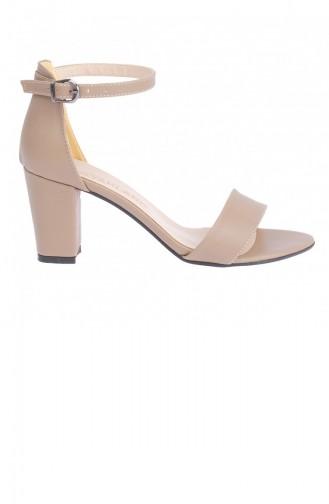 Ayakland Bsm 62 Cilt 7 Cm Topuk Bayan Sandalet Ayakkabı Açık Vizon