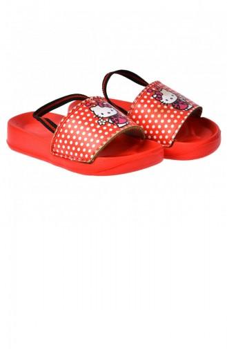 Kiko Akn E405082 Plaj Havuz Kız Çocuk Sandalet Terlik Kırmızı