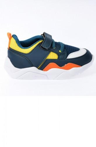 Kiko S19 Günlük Fileli Cırtlı Kızerkek Çocuk Spor Ayakkabı Petrol