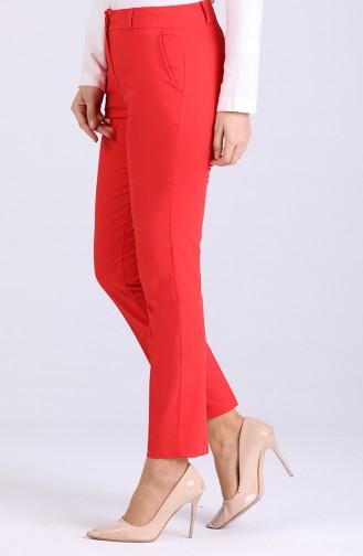 Cepli Klasik Düz Paca Pantolon 3322PNT-03 Kırmızı