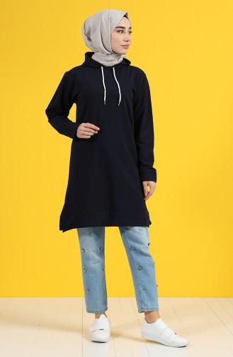 Kapüşonlu Sweatshirt 20044-01 Lacivert 20044-01