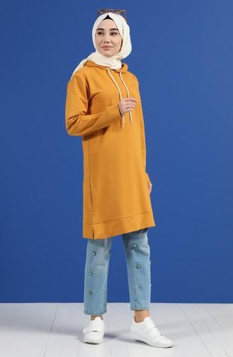 Kapüşonlu Sweatshirt 20044-05 Hardal