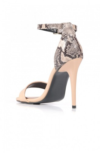Single Tape Nude Tek Bant Kadın Topuklu Ayakkabı 102009006235