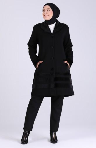 معطف طويل أسود 0806-02