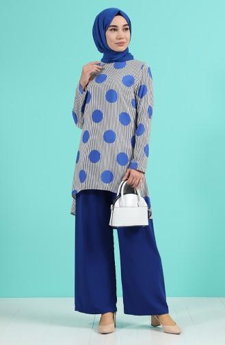 Desenli Tunik Pantolon İkili Takım 1008-01 Saks
