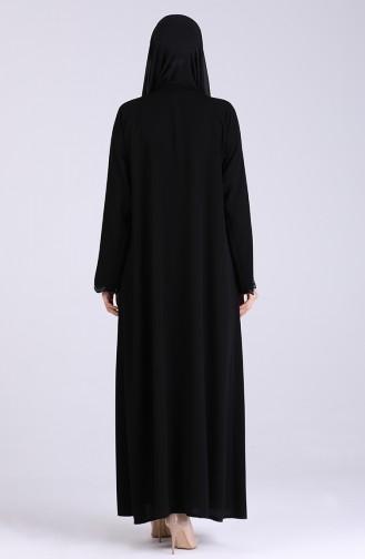 Taş Baskılı Ferace 1046-02 Siyah