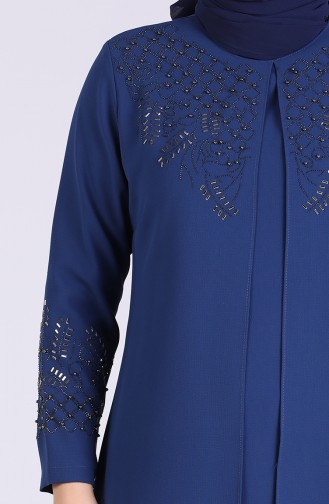 Plus Size Stone Printed Evening Dress 2021-05 Indigo 2021-05