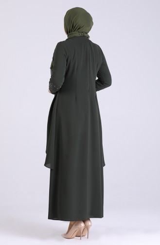 Plus Size Stone Printed Evening Dress 2021-06 Khaki 2021-06